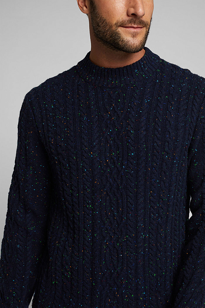 Wool blend: textured jumper with colourful dimples, NAVY, detail image number 2
