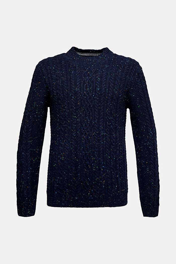 Wool blend: textured jumper with colourful dimples, NAVY, detail image number 5