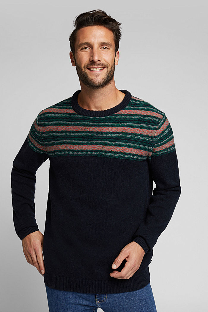 Jacquard jumper made of blended wool, NAVY, overview