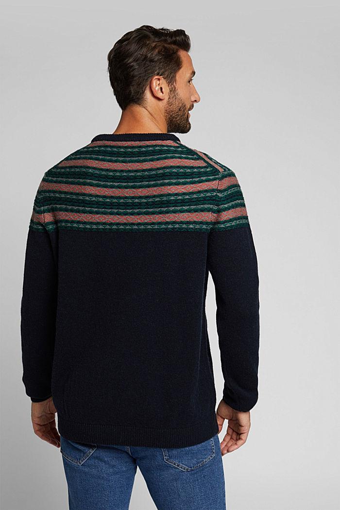 Jacquard jumper made of blended wool, NAVY, detail image number 3