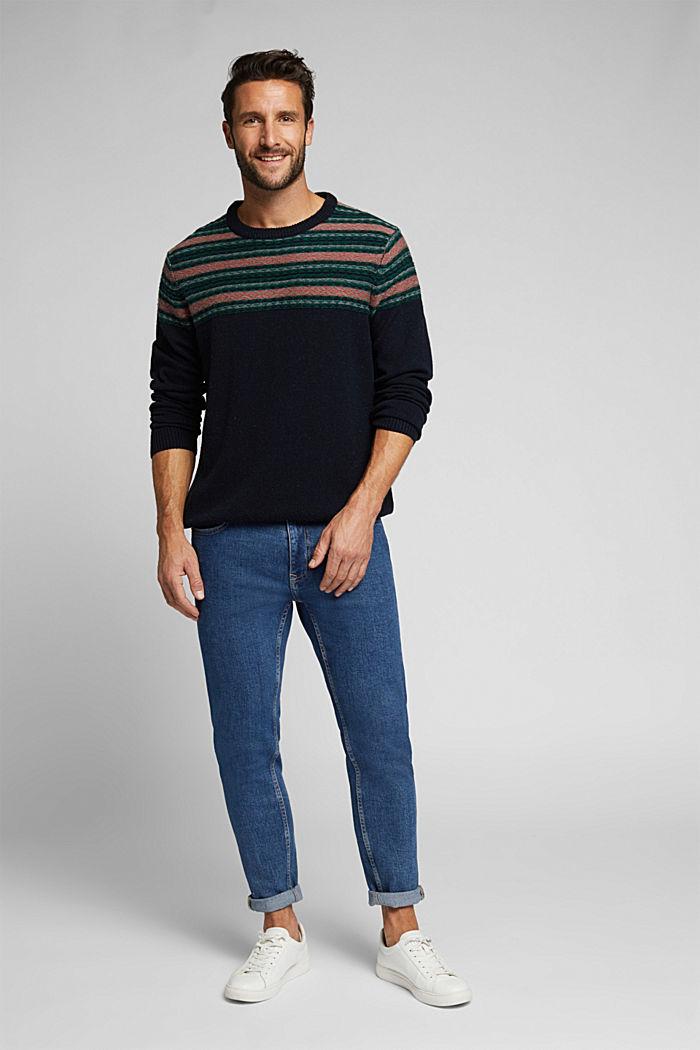Jacquard jumper made of blended wool, NAVY, detail image number 1