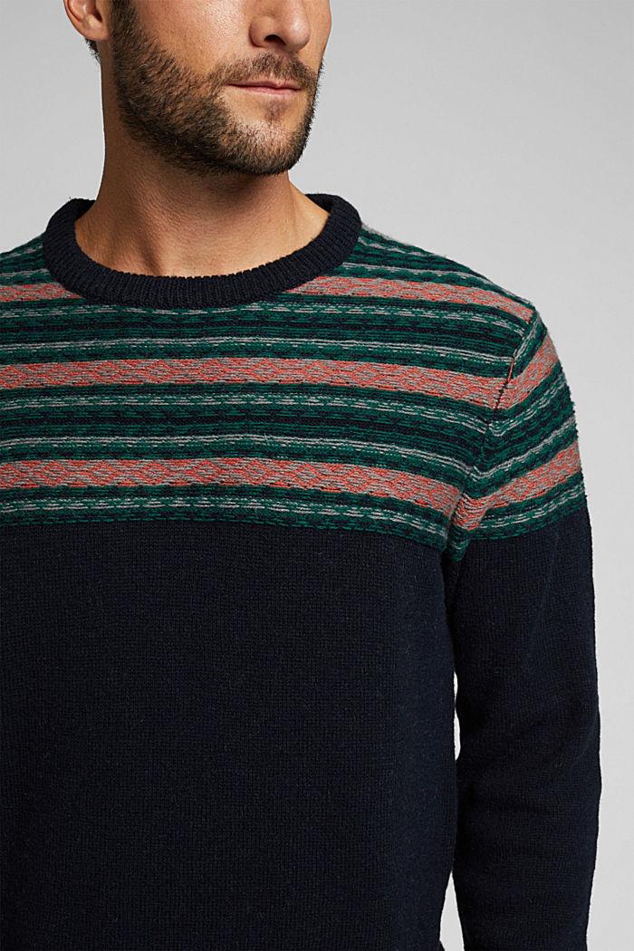 Jacquard jumper made of blended wool, NAVY, detail image number 2