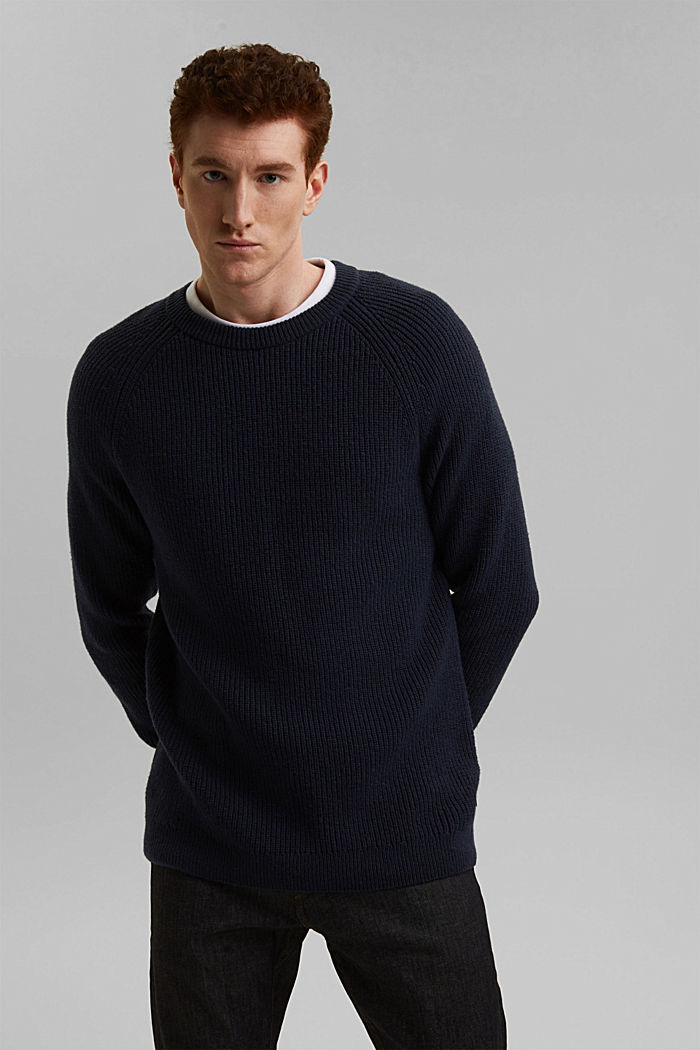 Wool blend: ribbed knit jumper, NAVY, detail image number 7