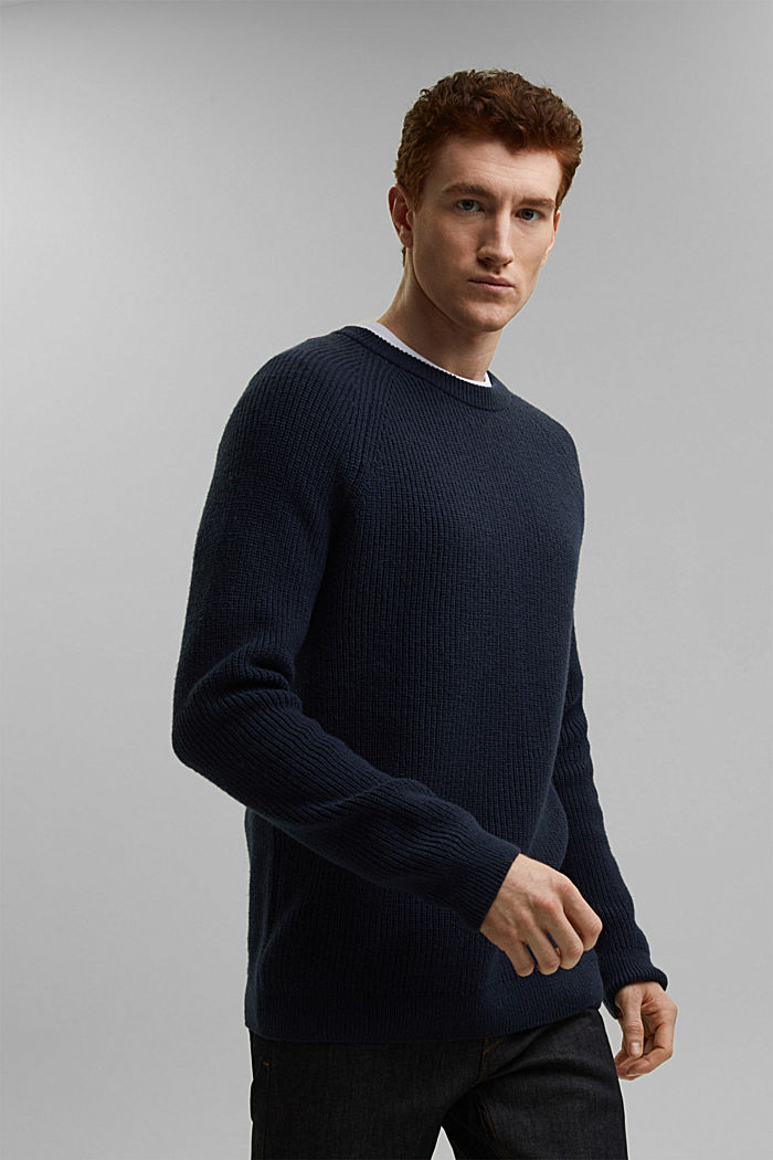 Wool blend: ribbed knit jumper, NAVY, detail image number 0