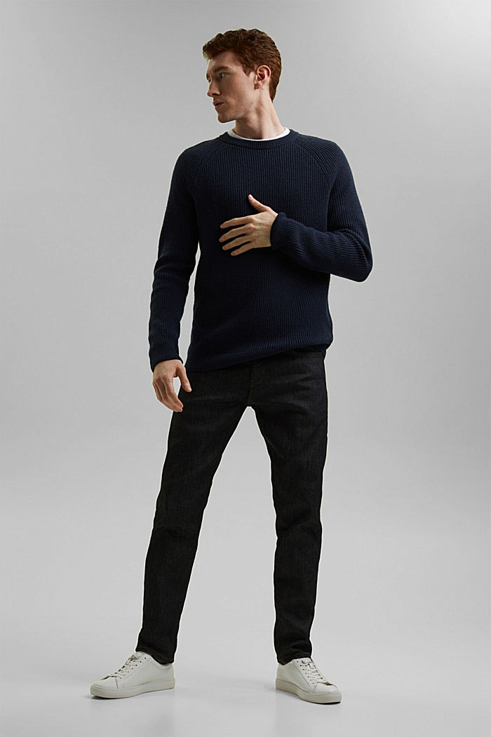 Wool blend: ribbed knit jumper, NAVY, detail image number 6
