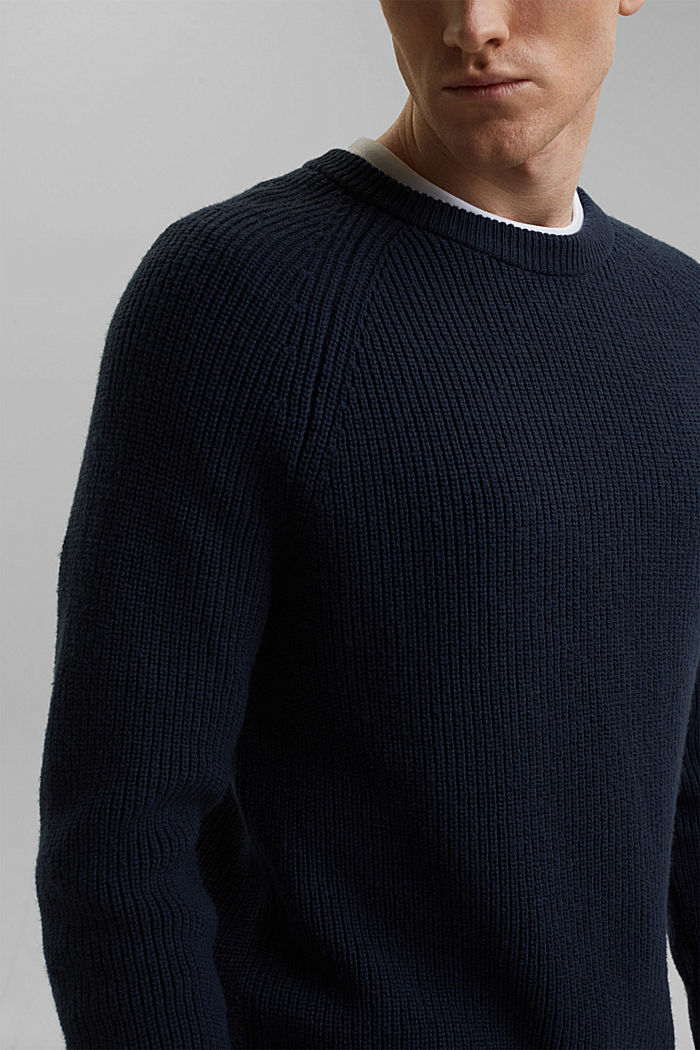Wool blend: ribbed knit jumper, NAVY, detail image number 2
