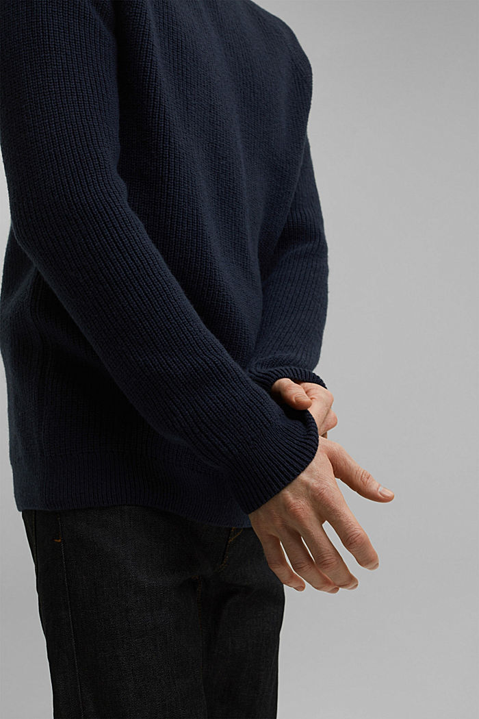 Wool blend: ribbed knit jumper, NAVY, detail image number 5