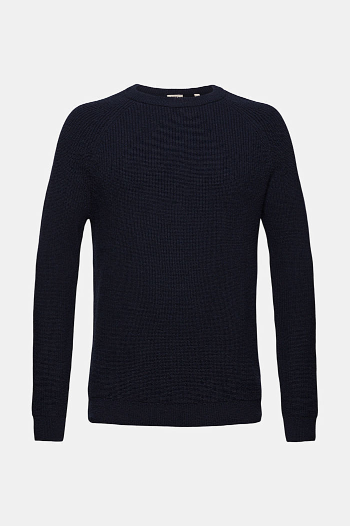 Wool blend: ribbed knit jumper, NAVY, detail image number 8