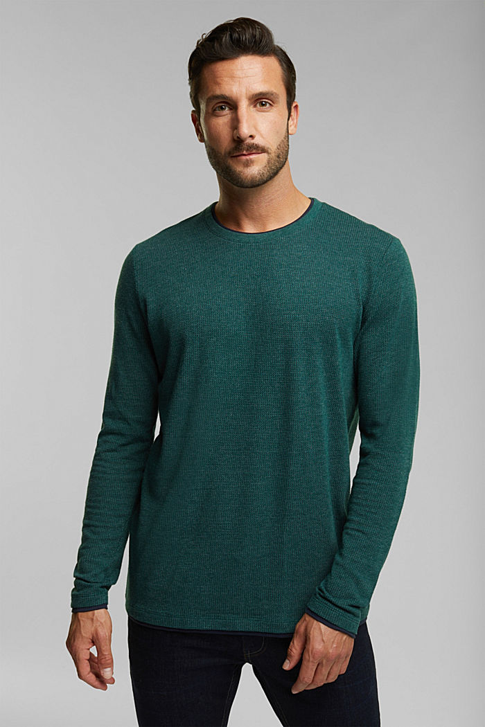 Recycled: Long sleeve top with organic cotton, BOTTLE GREEN, overview