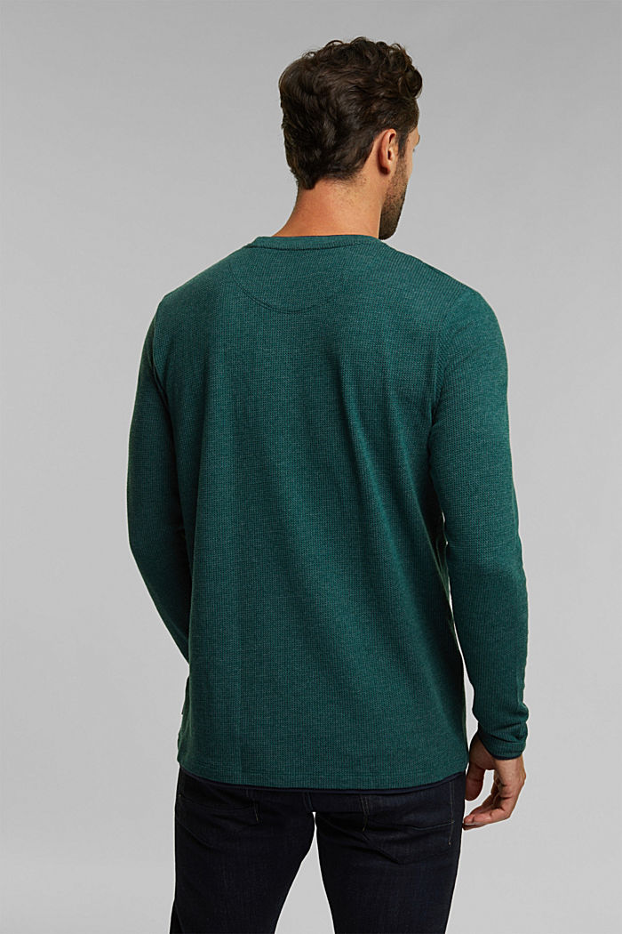 Recycled: Long sleeve top with organic cotton, BOTTLE GREEN, detail image number 3