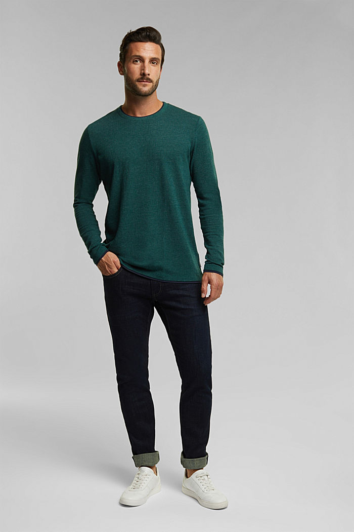 Recycled: Long sleeve top with organic cotton, BOTTLE GREEN, detail image number 2