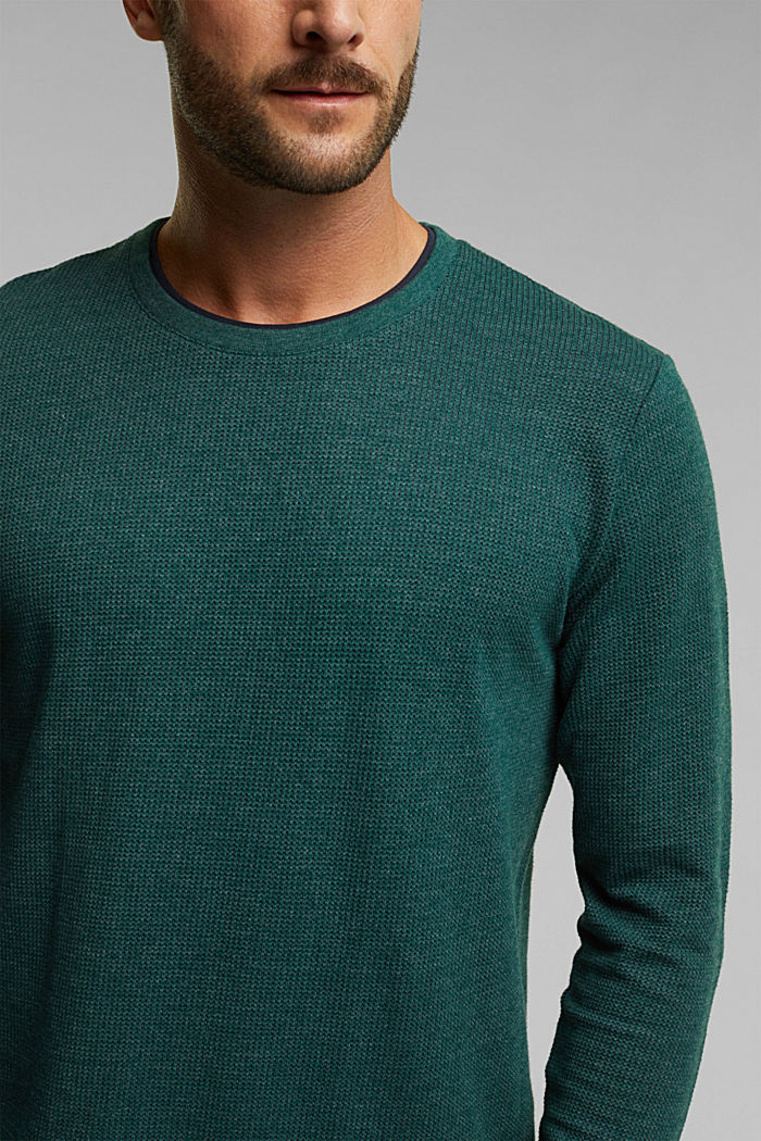 Recycled: Long sleeve top with organic cotton, BOTTLE GREEN, detail image number 1