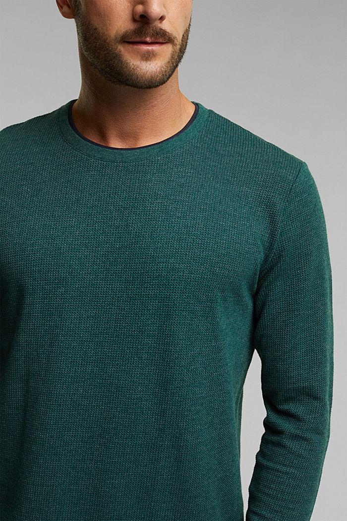 Gerecycled: longsleeve met organic cotton, BOTTLE GREEN, detail image number 1
