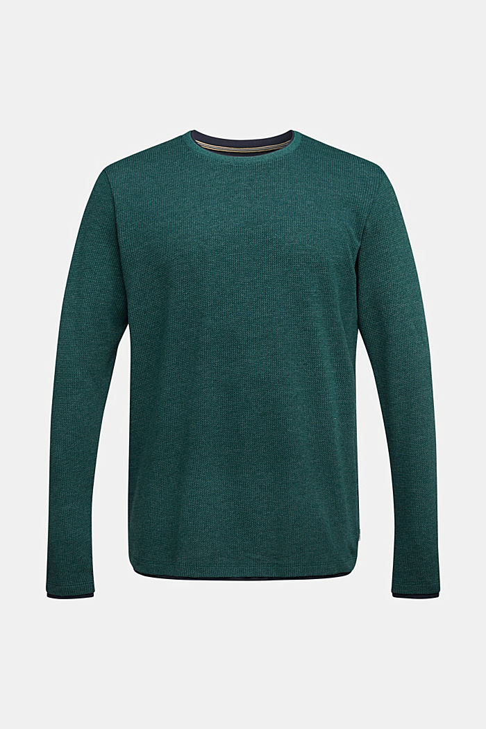 Gerecycled: longsleeve met organic cotton, BOTTLE GREEN, overview