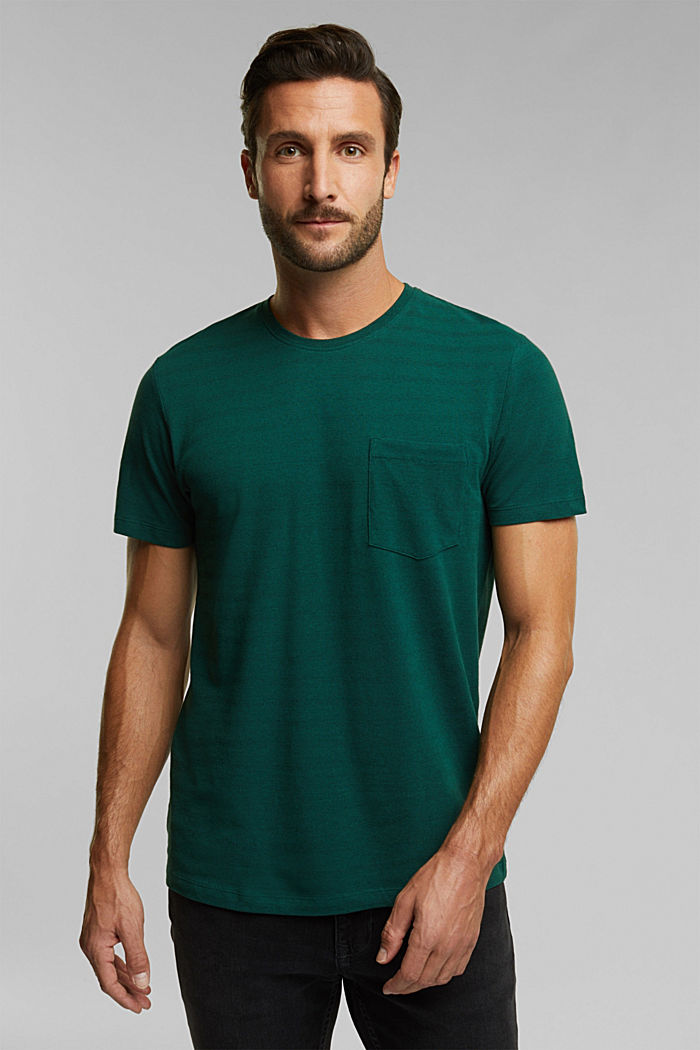 Jersey top with a texture, organic cotton, BOTTLE GREEN, detail image number 0