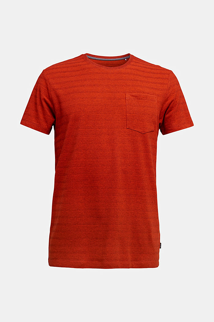 Jersey top with a texture, organic cotton, BURNT ORANGE, overview