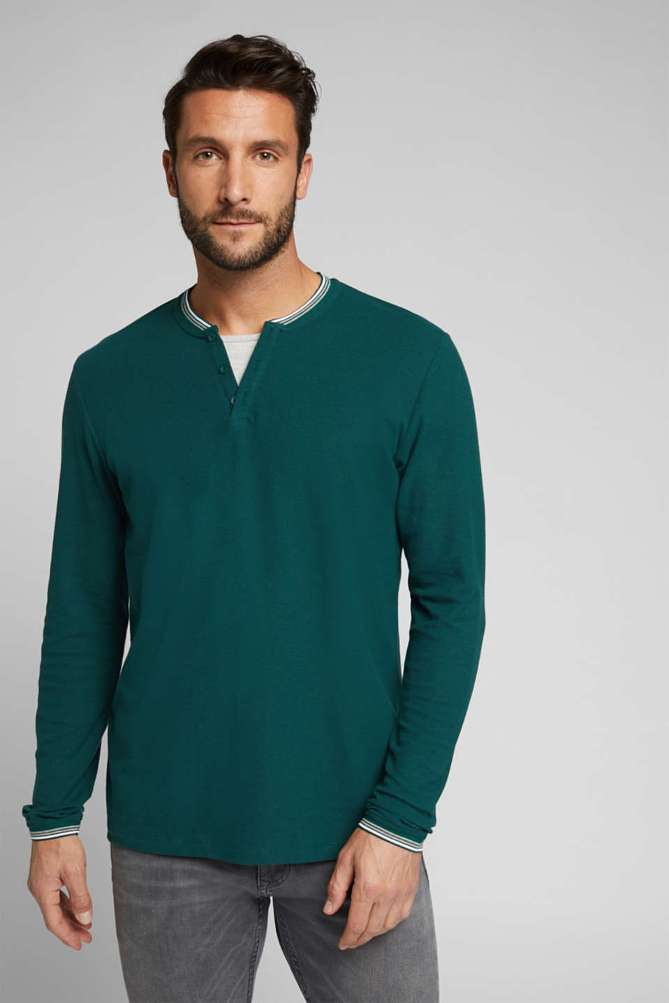 Esprit - Recycled: Long sleeve Henley top made of jersey