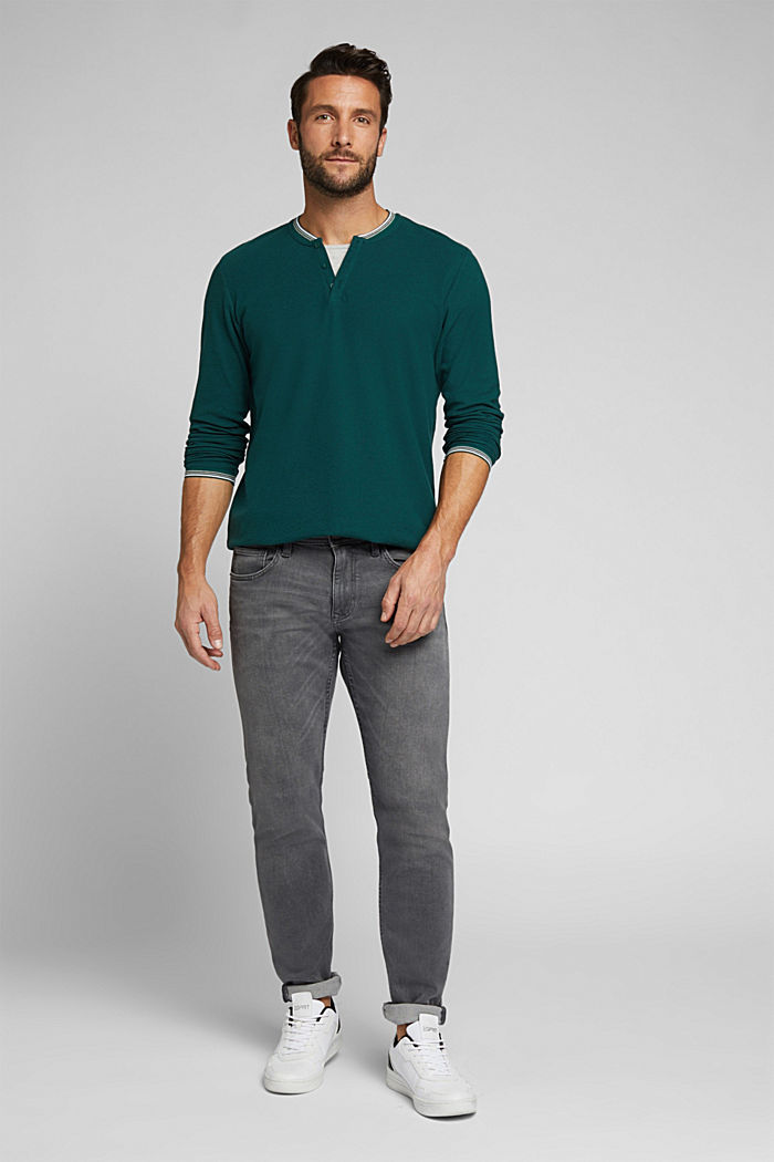 Recycled: Long sleeve Henley top made of jersey, BOTTLE GREEN, detail image number 2
