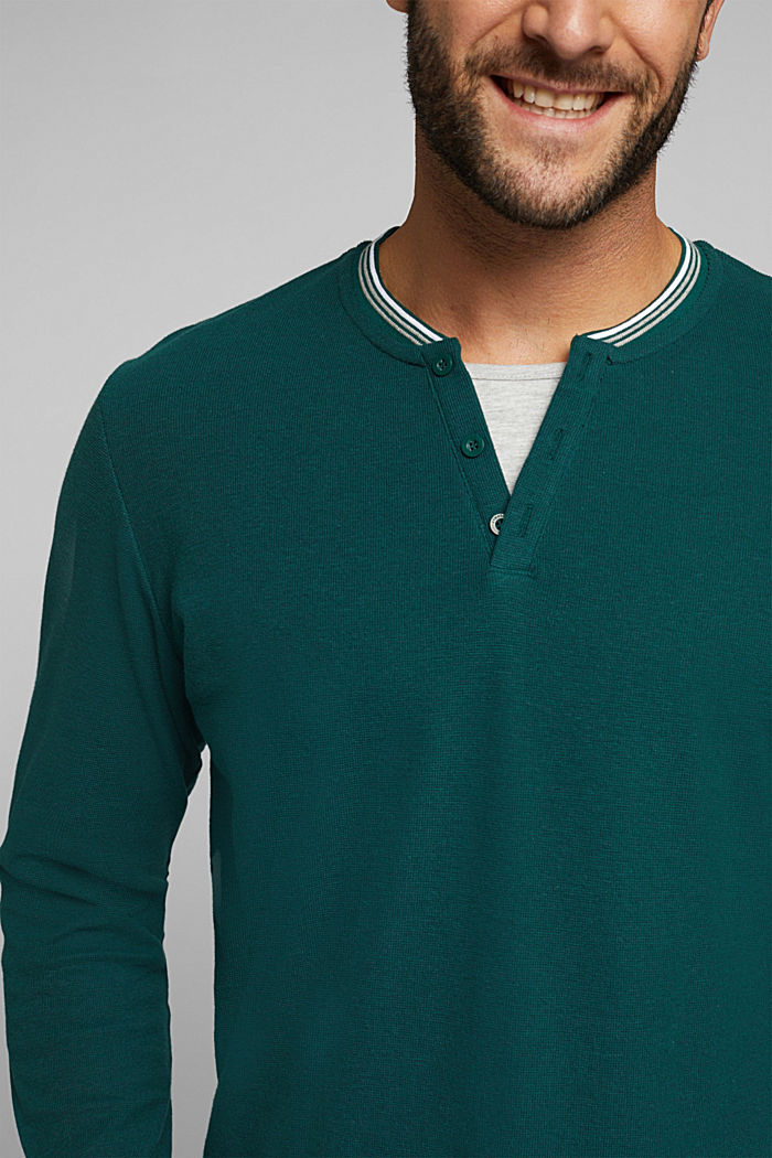 Recycled: Long sleeve Henley top made of jersey, BOTTLE GREEN, detail image number 1