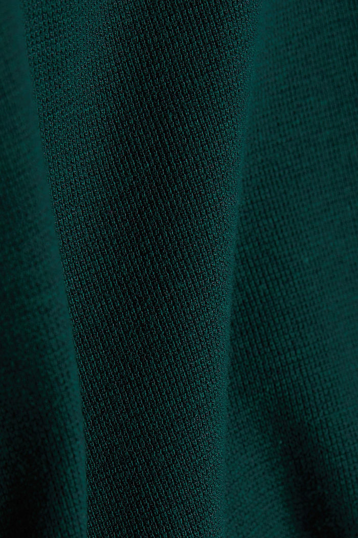 Recycled: Long sleeve Henley top made of jersey, BOTTLE GREEN, detail image number 4