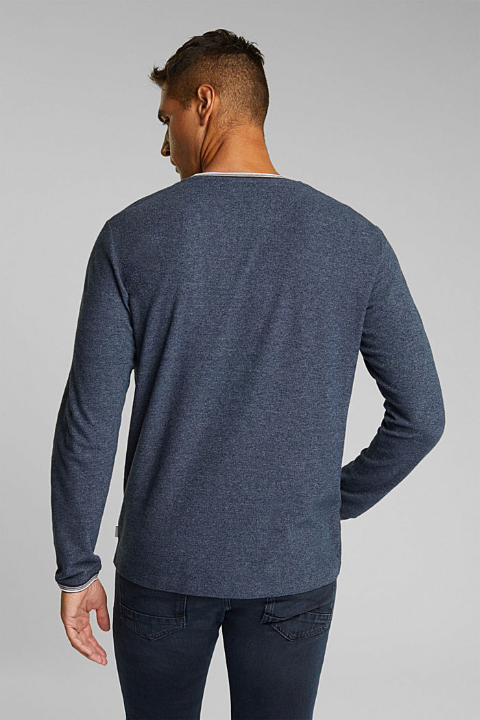 Recycled: Long sleeve Henley top made of jersey, NAVY, detail image number 3