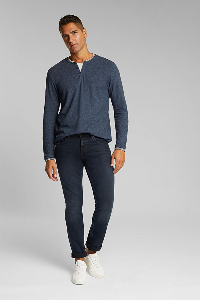 Recycled: Long sleeve Henley top made of jersey, NAVY, detail image number 2