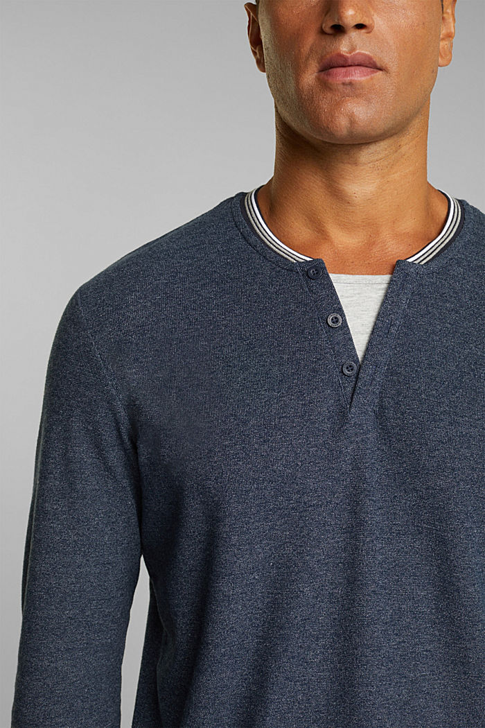 Recycled: Long sleeve Henley top made of jersey, NAVY, detail image number 1