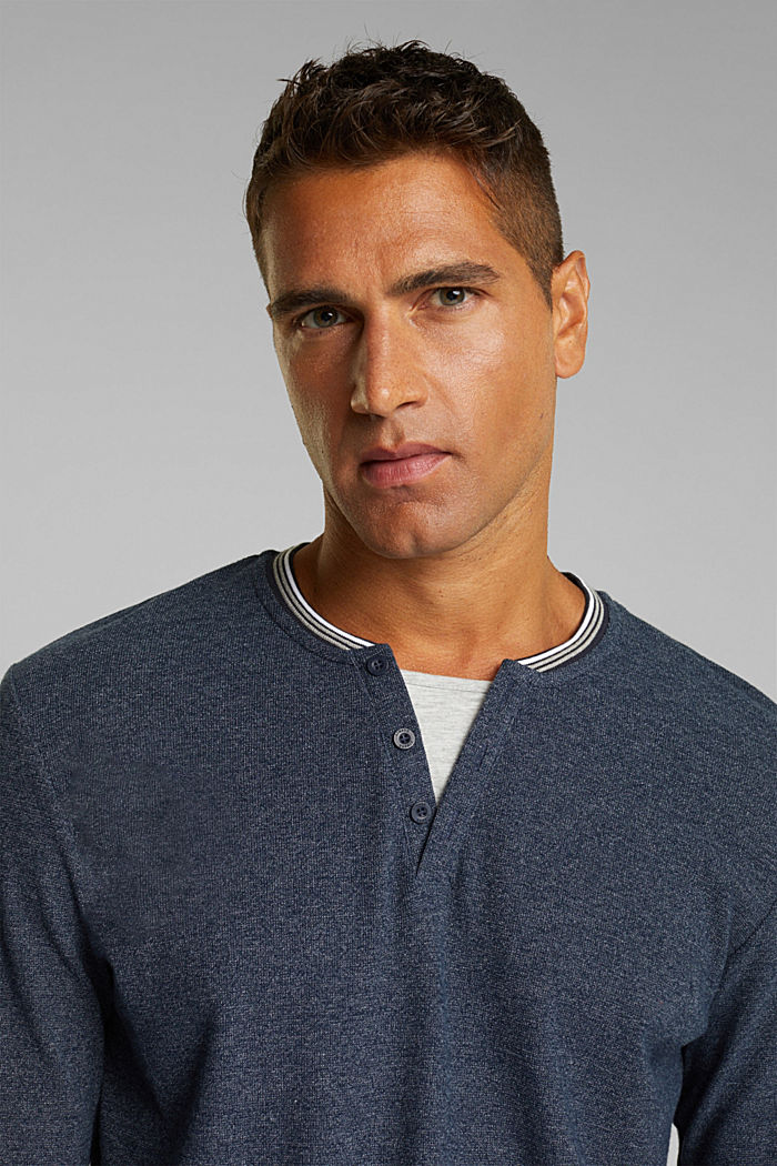Recycled: Long sleeve Henley top made of jersey, NAVY, detail image number 5