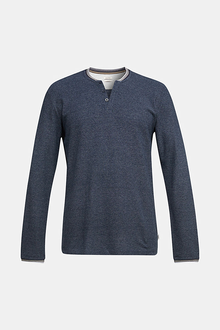 Recycled: Long sleeve Henley top made of jersey, NAVY, detail image number 6