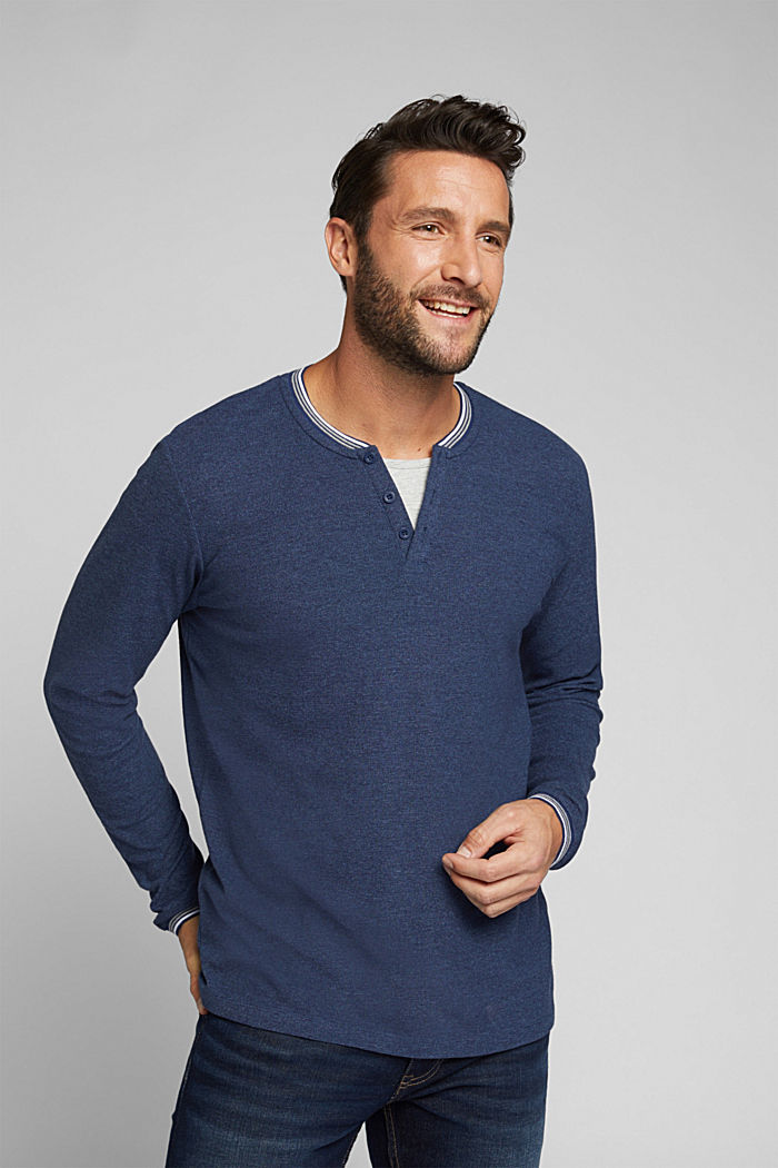 Recycled: Long sleeve Henley top made of jersey