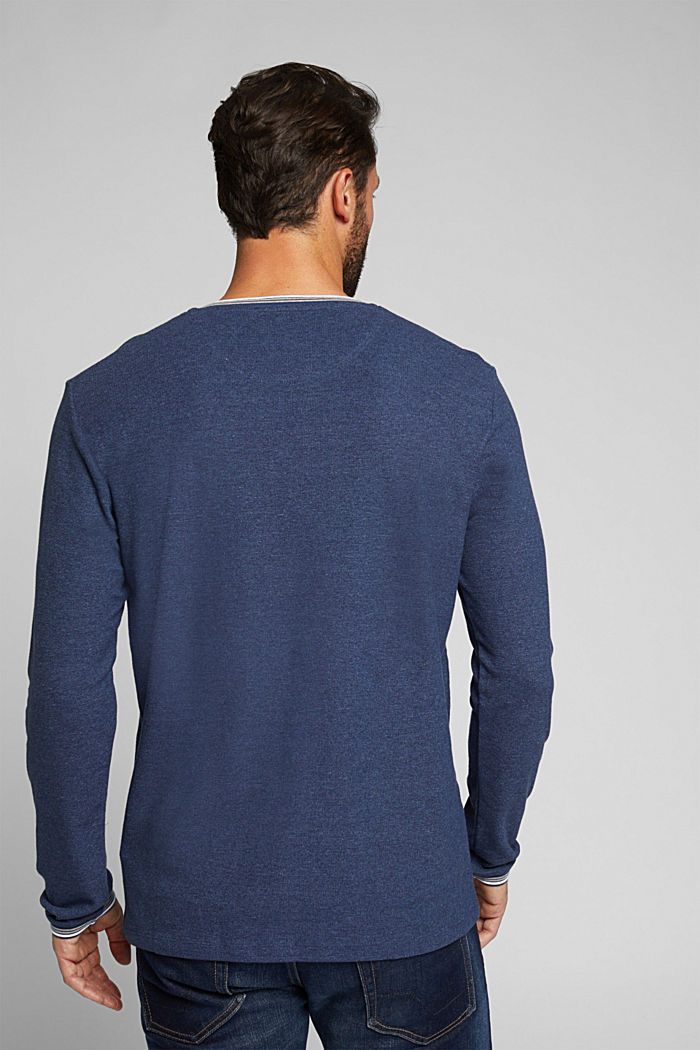 Recycled: Long sleeve Henley top made of jersey, INK, detail image number 3