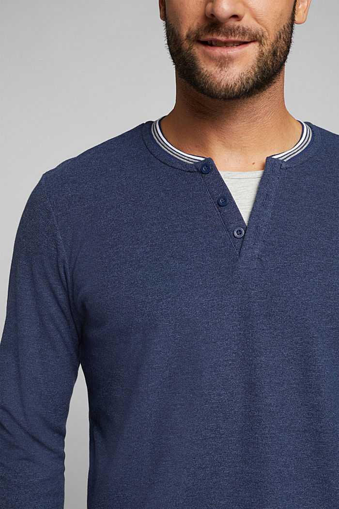 Recycled: Long sleeve Henley top made of jersey, INK, detail image number 1