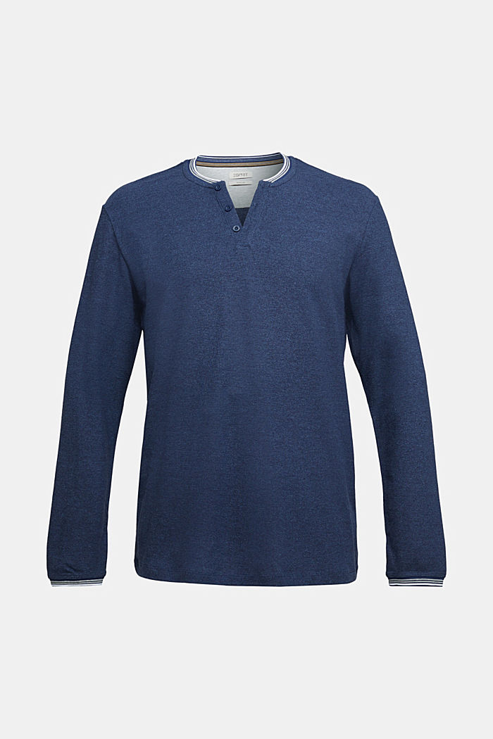 Recycled: Long sleeve Henley top made of jersey, INK, detail image number 5
