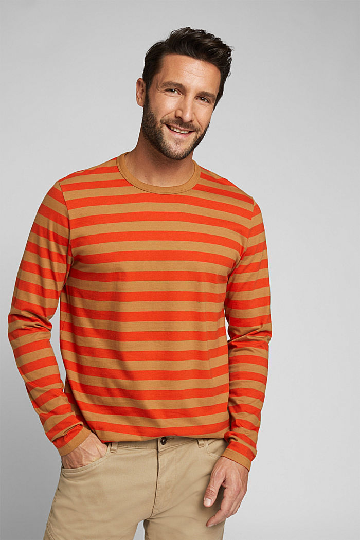 Striped jersey long sleeve top, organic cotton, TOFFEE, detail image number 0