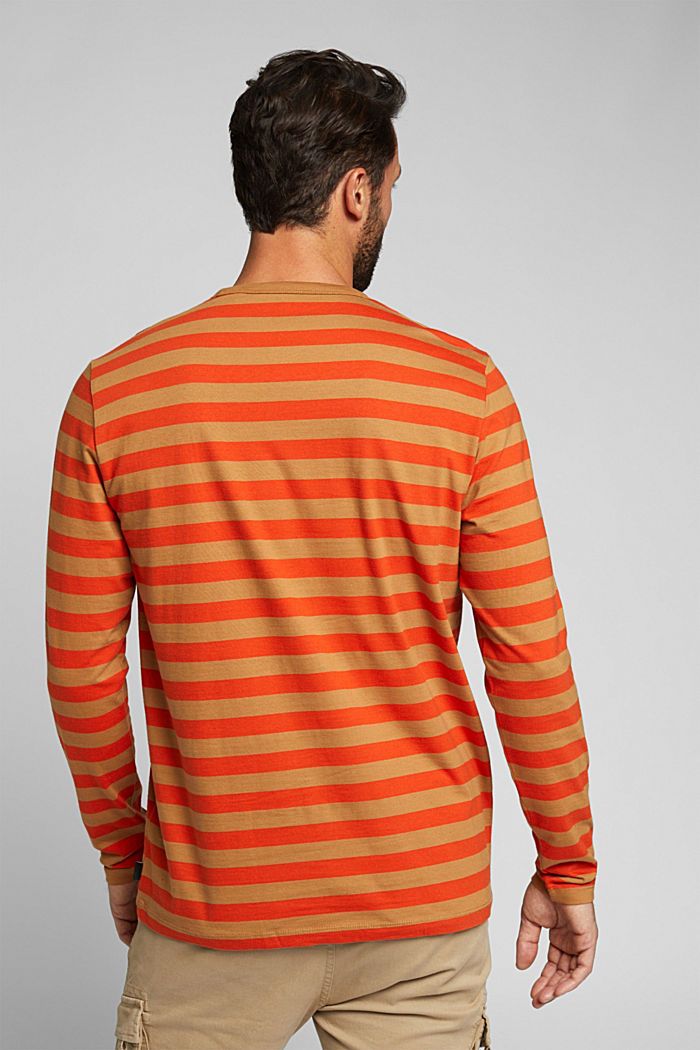 Striped jersey long sleeve top, organic cotton, TOFFEE, detail image number 3