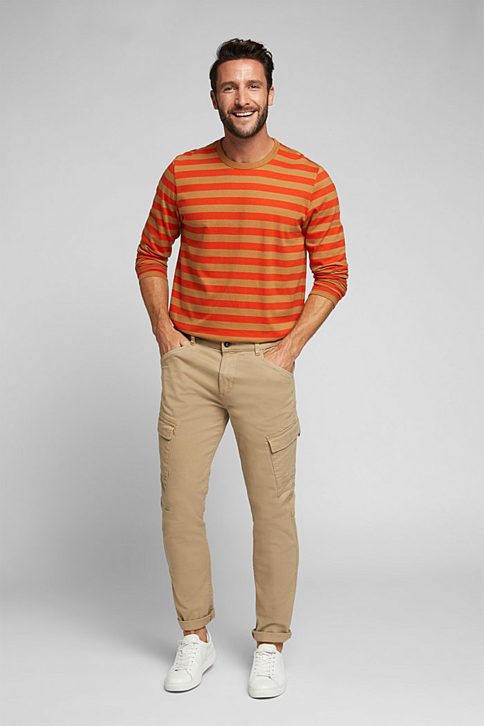 Striped jersey long sleeve top, organic cotton, TOFFEE, detail image number 2