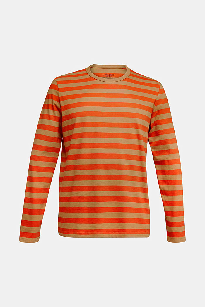 Striped jersey long sleeve top, organic cotton, TOFFEE, detail image number 5