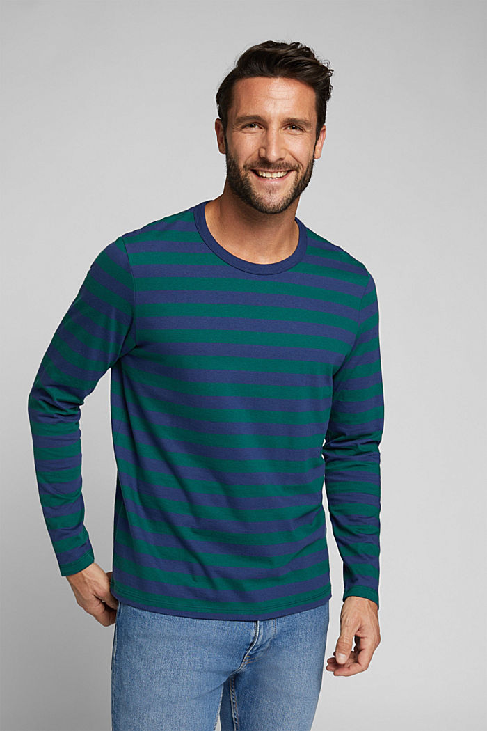 Striped jersey long sleeve top, organic cotton, BOTTLE GREEN, detail image number 0