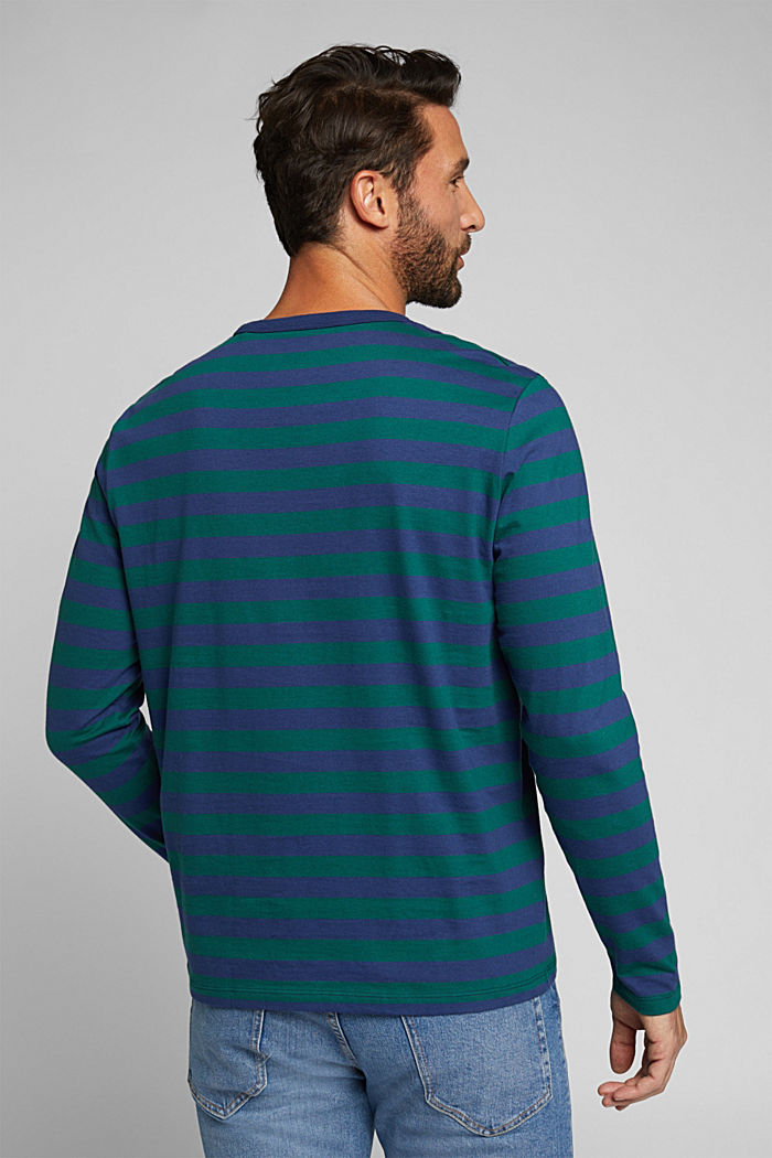 Striped jersey long sleeve top, organic cotton, BOTTLE GREEN, detail image number 3