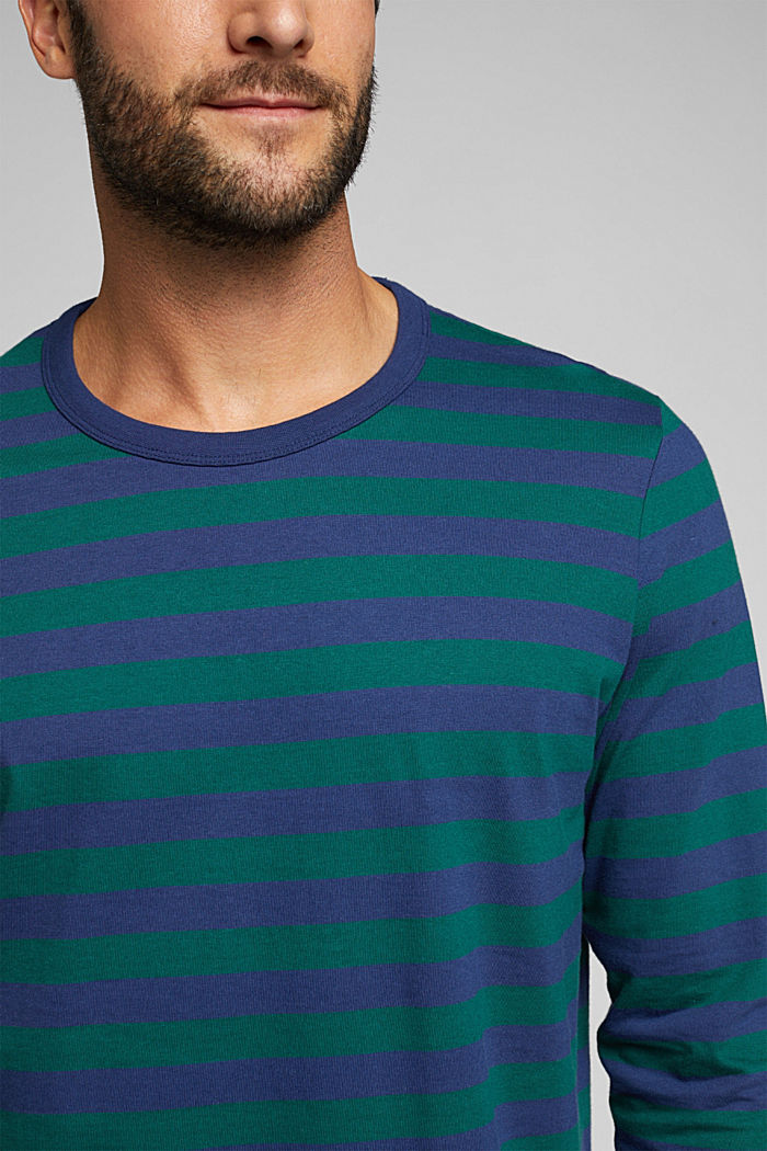 Striped jersey long sleeve top, organic cotton, BOTTLE GREEN, detail image number 1