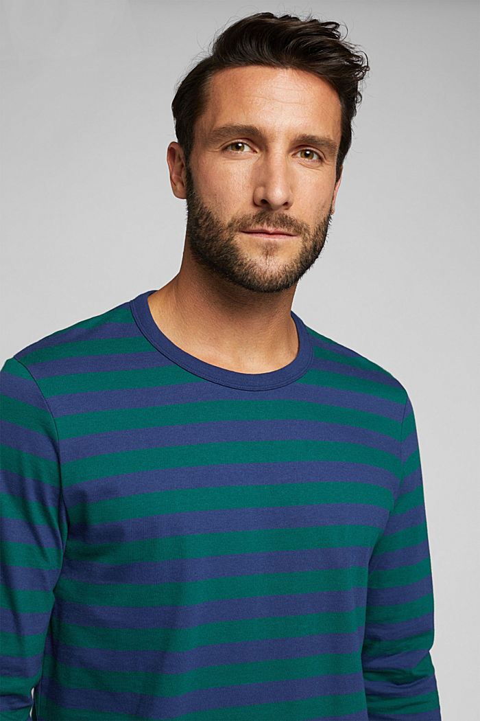 Striped jersey long sleeve top, organic cotton, BOTTLE GREEN, detail image number 5