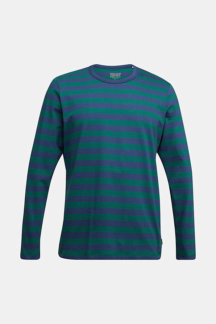Striped jersey long sleeve top, organic cotton, BOTTLE GREEN, detail image number 6