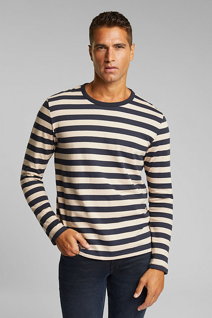 Striped jersey long sleeve top, organic cotton, NAVY, detail image number 0
