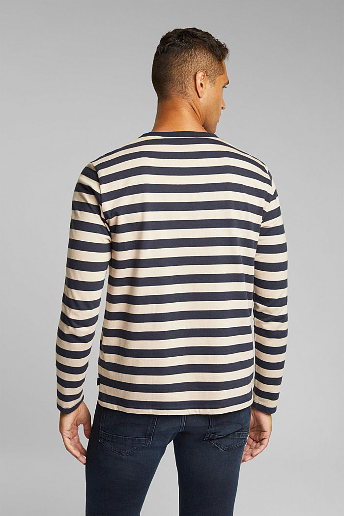 Striped jersey long sleeve top, organic cotton, NAVY, detail image number 3