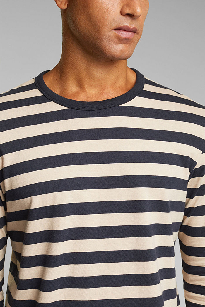 Striped jersey long sleeve top, organic cotton, NAVY, detail image number 1