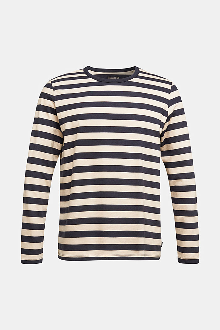 Striped jersey long sleeve top, organic cotton, NAVY, overview