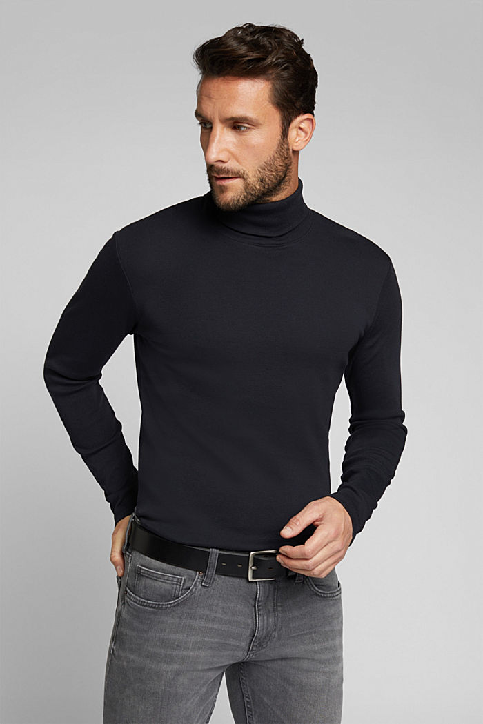 Camiseta de manga larga con cuello vuelto, 100 % algodón ecológico, BLACK, detail image number 3