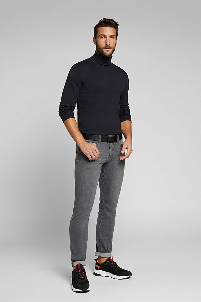 Camiseta de manga larga con cuello vuelto, 100 % algodón ecológico, BLACK, detail image number 5