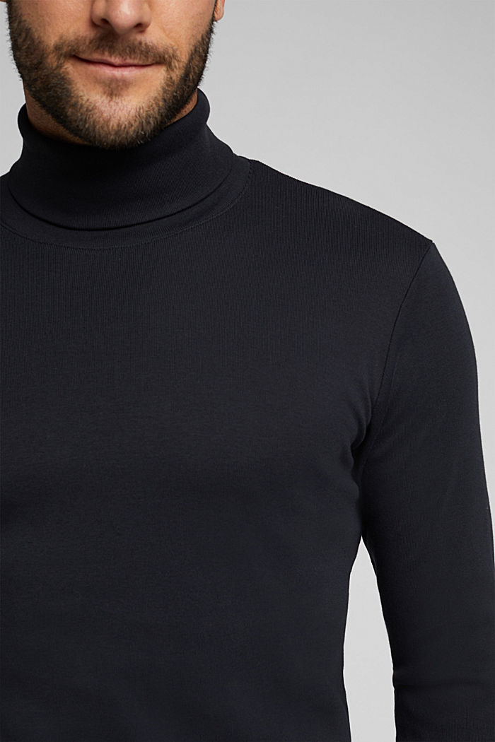 Camiseta de manga larga con cuello vuelto, 100 % algodón ecológico, BLACK, detail image number 1