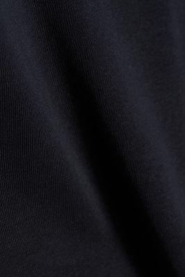 Polo neck long sleeve top, organic cotton, BLACK, detail